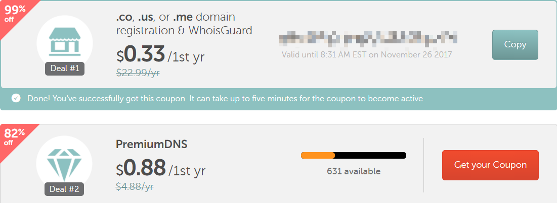#黑五特惠# Namecheap 限时黑五域名活动 顶级域名仅需 0.33 美元/年! 活动截止至 23:00
